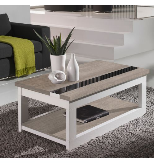 Table basse relevable plateau ch ne blanchi et pied blanc for Table basse en chene clair