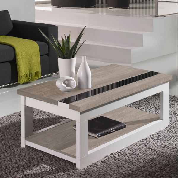 Table basse relevable plateau ch ne blanchi et pied blanc for Table basse chene blanchi