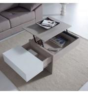 Table basse relevable design chêne blanchi et blanc Concept