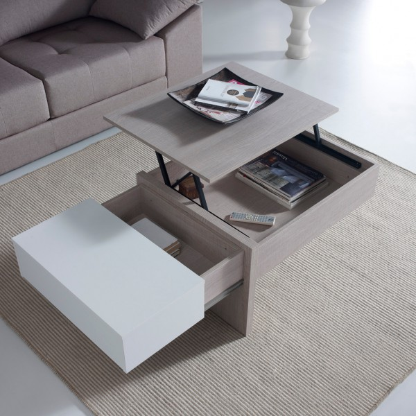 Table basse design relevable blanche concept for Table basse chene blanchi