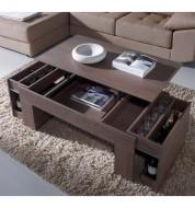 Table basse relevable placage imitation chêne foncé Concept