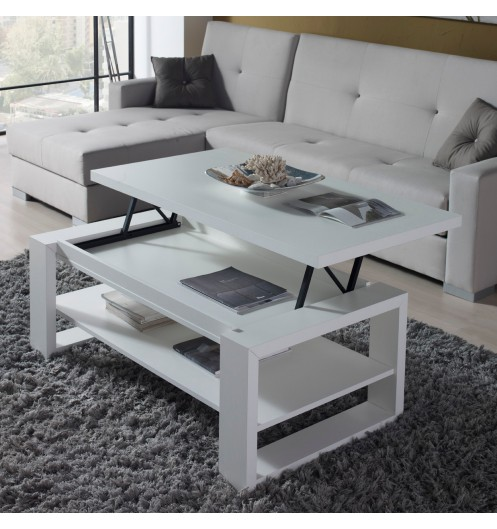 table basse relevable design blanche concept. Black Bedroom Furniture Sets. Home Design Ideas