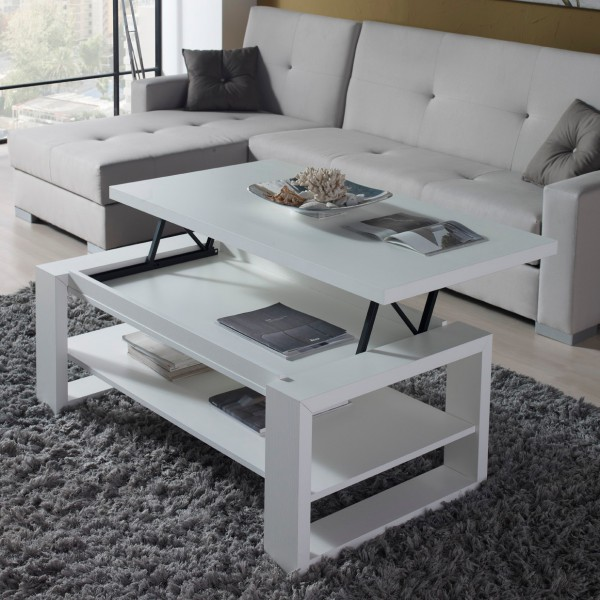 Table basse relevable design blanche concept - Table basse bois blanc ...