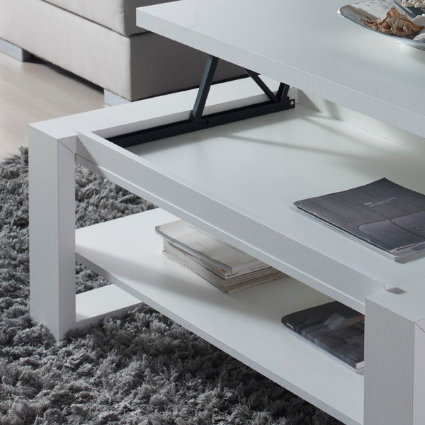 Table basse relevable design blanche concept - Table basse relevable blanche ...