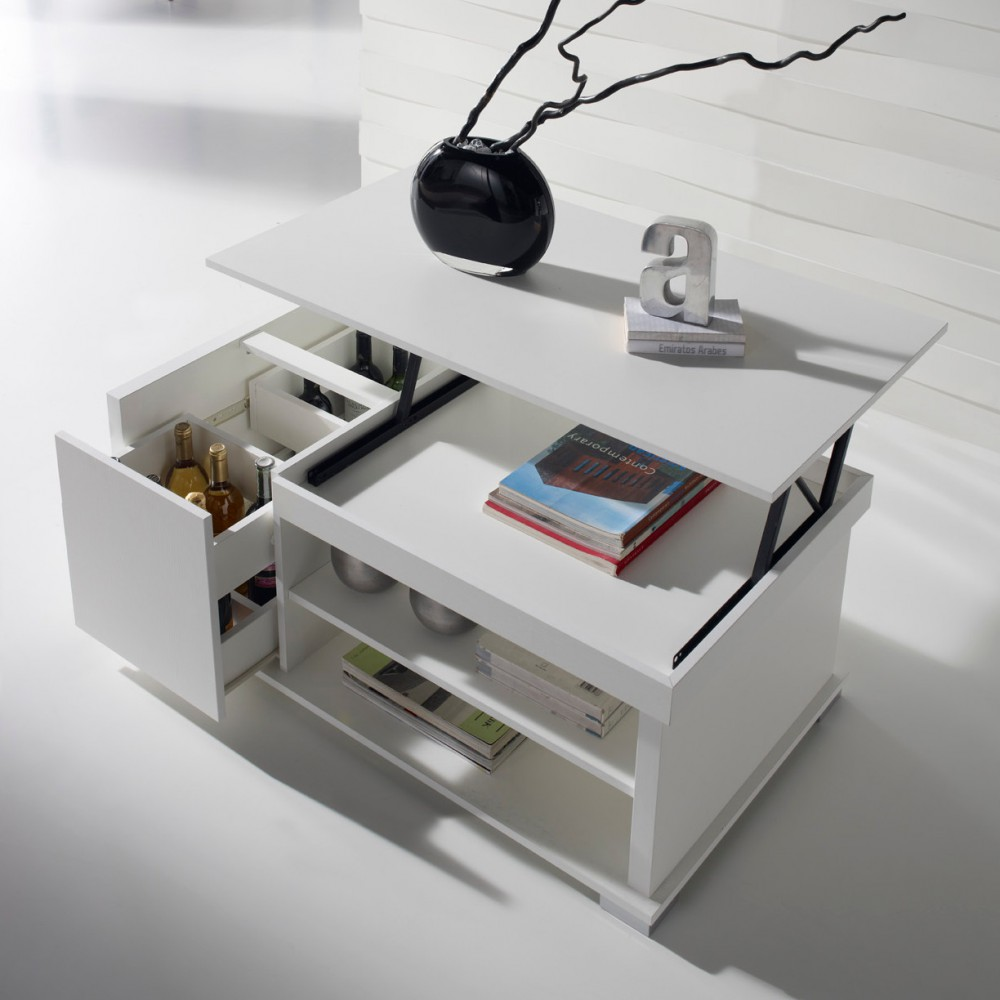 table basse relevable blanche concept