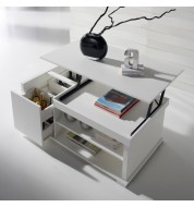 Table basse relevable blanche multiples rangements Concept