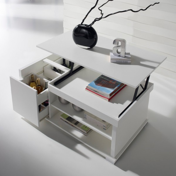 Table basse relevable blanche concept - Table de salon convertible ...