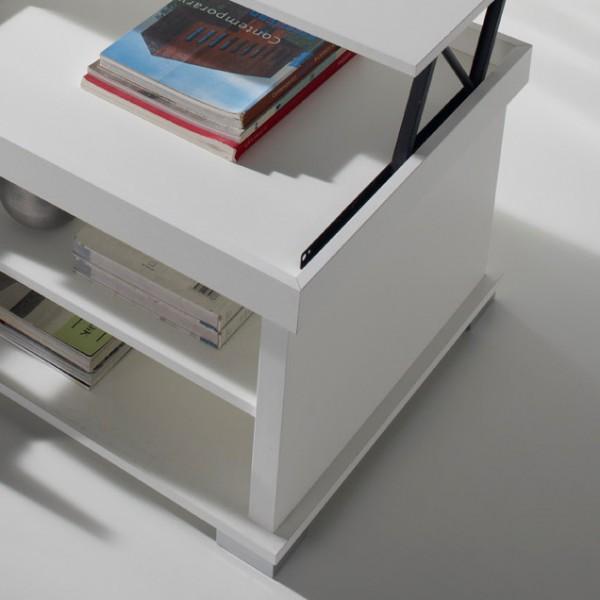 Table basse relevable blanche concept - Table basse relevable avec rangement ...