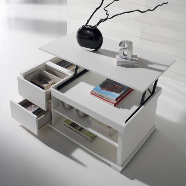 Table basse relevable blanche rangements concept - Table basse plateau relevable ...