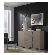 Buffet beige design placage mélaminé imitation chêne blanchi 150.5cm Concept