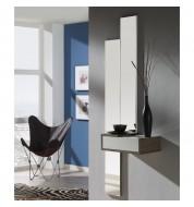 Meuble d'entrée + miroirs et tiroir placage effet chêne foncé