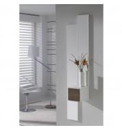 Meuble d'entrée + miroirs et tiroir carré effet chêne foncé