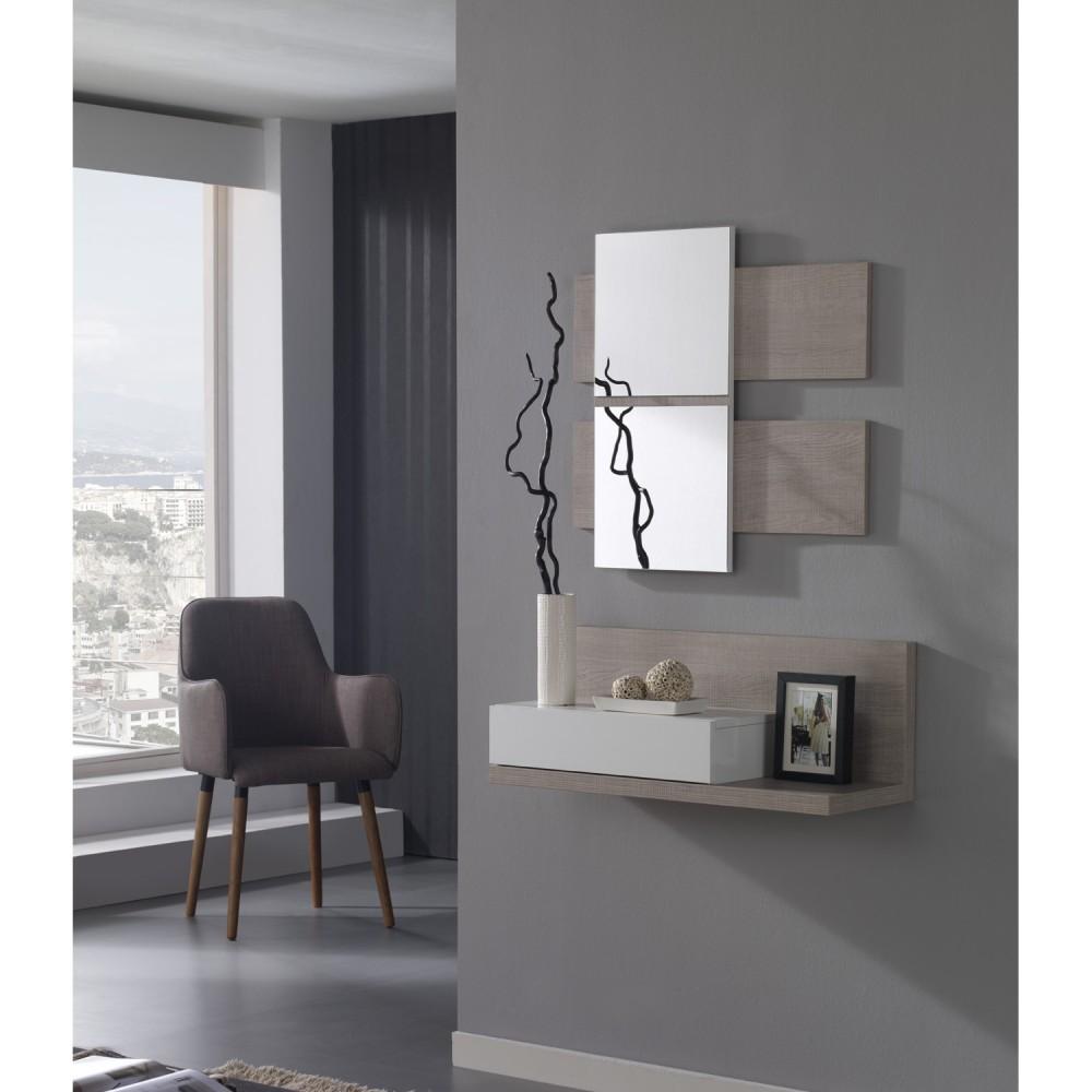 Meuble d\'entrée et miroirs + tiroir - Concept
