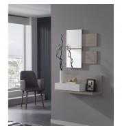 Meuble d'entrée + miroirs et grand tiroir effet chêne blanchi