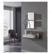 Meuble d'entrée + miroirs et grand tiroir effet chêne foncé