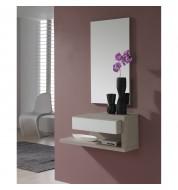 Meuble d'entrée + miroir et tiroir effet chêne blanchi Concept