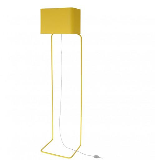 Lampadaire jaune design - grande lampe en pied métal