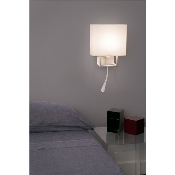 applique murale beige et marron avec liseuse led lampes. Black Bedroom Furniture Sets. Home Design Ideas