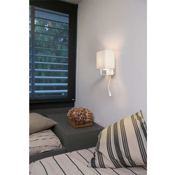 applique murale beige et marron avec liseuse led lampes design faro. Black Bedroom Furniture Sets. Home Design Ideas