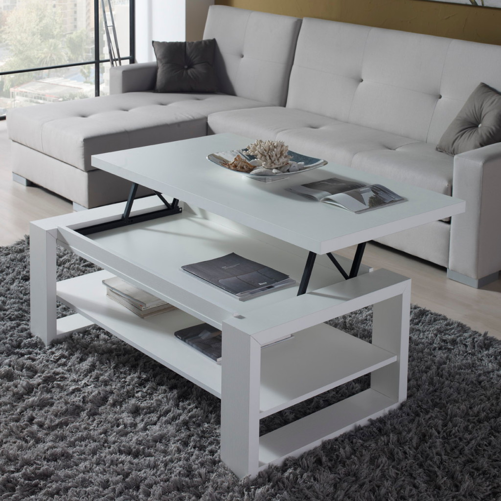 La table basse relevable r volutionne le salon d co et for Table haute bar blanche