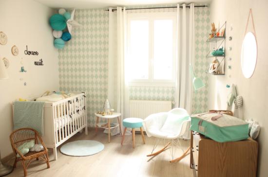 chambre bébé menthe à l'eau